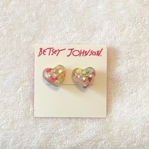 NWT Betsey Johnson Candy Heart Earrings!